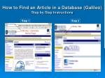 how to find an article in a database galileo step by step instructions