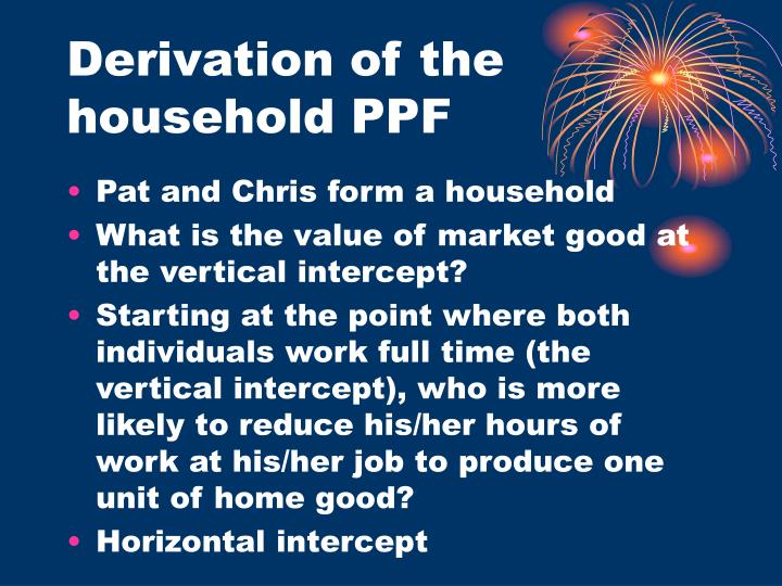 Derivation of the household PPF