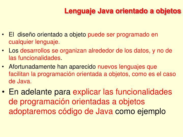 Lenguaje Java orientado a objetos
