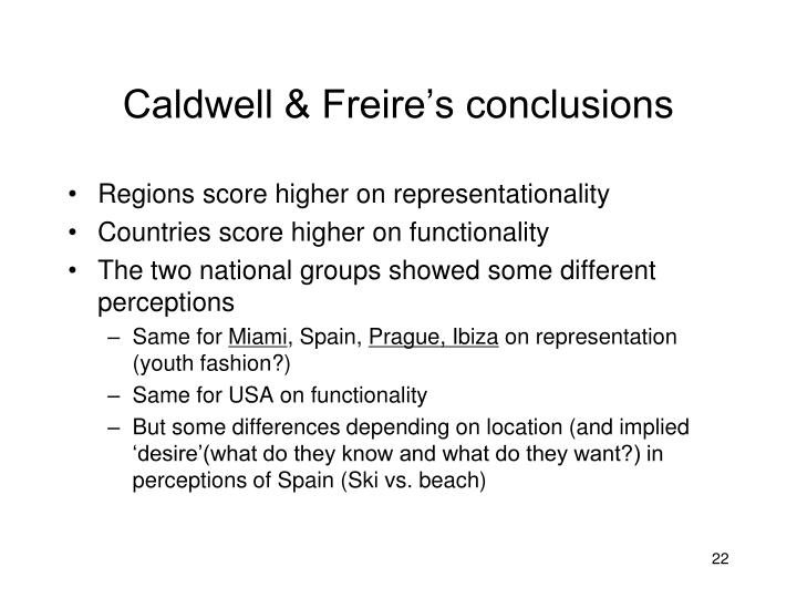 Caldwell & Freire's conclusions