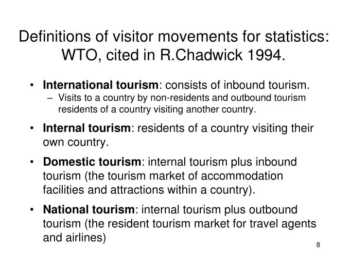 Definitions of visitor movements for statistics: WTO, cited in R.Chadwick 1994.