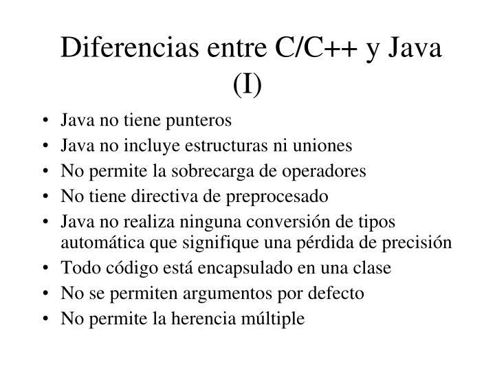 Diferencias entre C/C++ y Java (I)