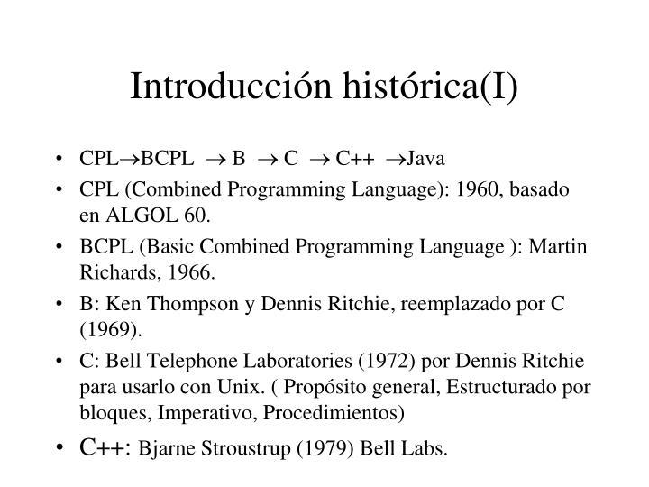 Introducción histórica(I)