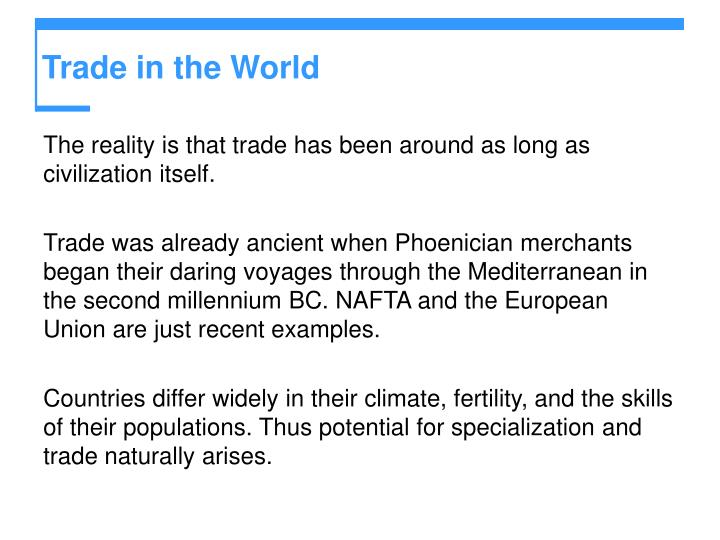 Trade in the World