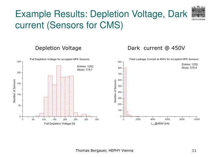 Example Results: Depletion Voltage, Dark current (Sensors for CMS)