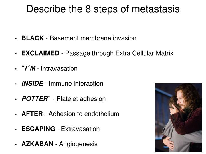Describe the 8 steps of metastasis