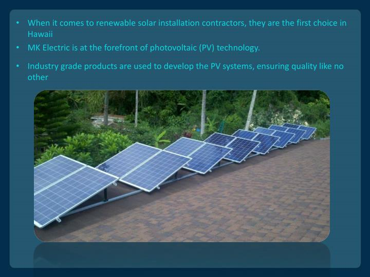 MK Electric is at the forefront of photovoltaic (PV) technology.
