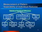 measurement of pattern separability of individual features