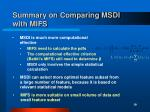 summary on comparing msdi with mifs