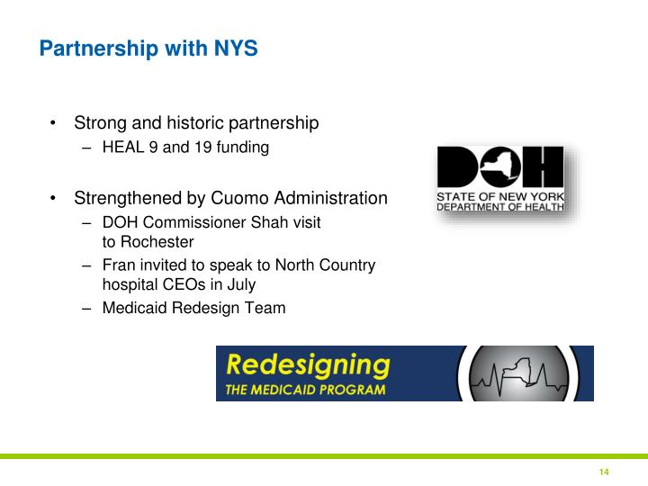 Partnership with NYS