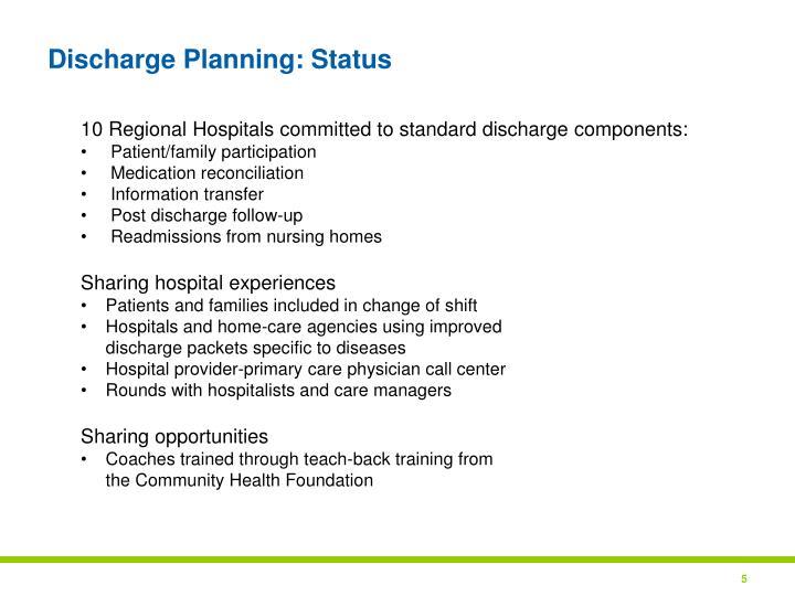 Discharge Planning: Status