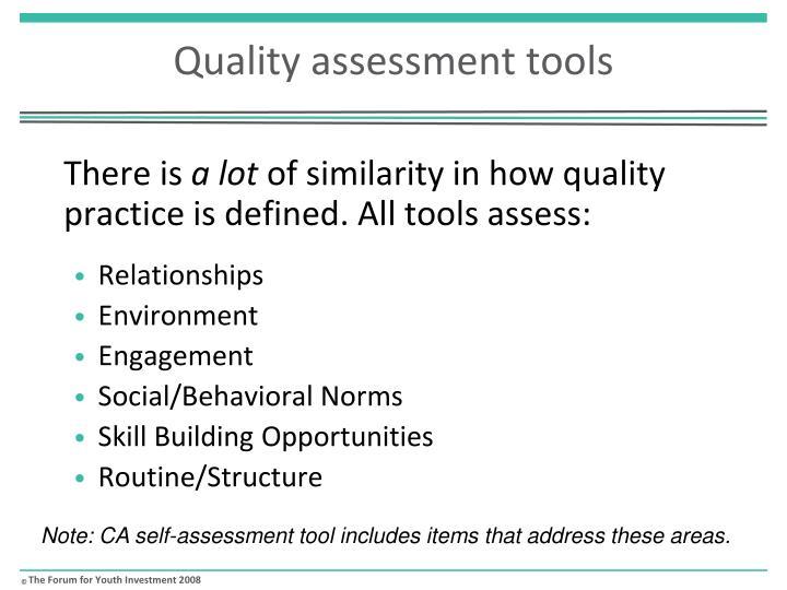 Quality assessment tools1
