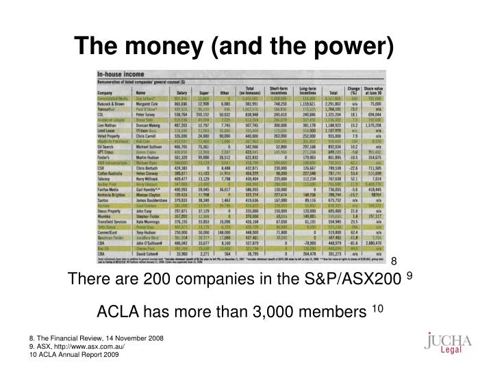 The money (and the power)