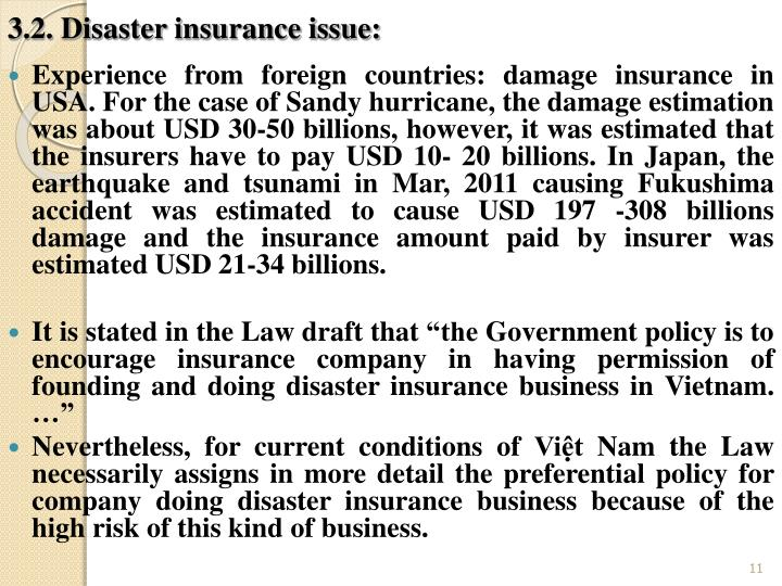 3.2. Disaster insurance issue: