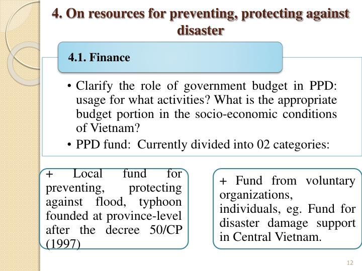 4. On resources for preventing, protecting against disaster