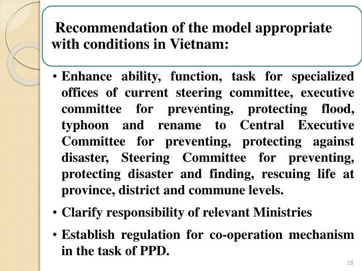 Recommendation of the model appropriate with conditions in Vietnam:
