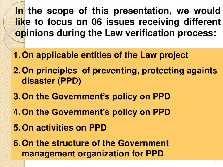 In the scope of this presentation, we would like to focus on 06 issues receiving different opinions ...
