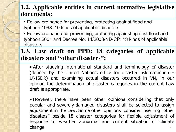 1.2. Applicable entities in current normative legislative documents: