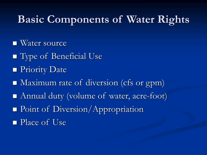 Basic Components of Water Rights