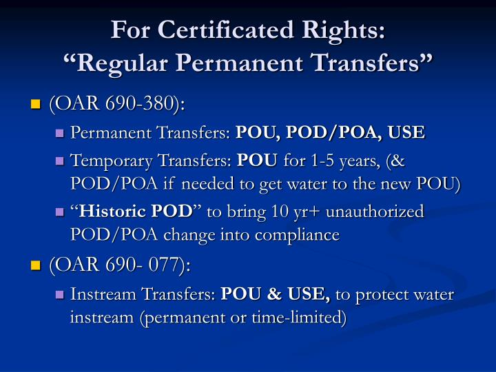 For Certificated Rights: