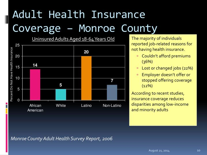 Adult Health Insurance Coverage – Monroe County