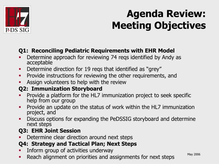 Agenda review meeting objectives