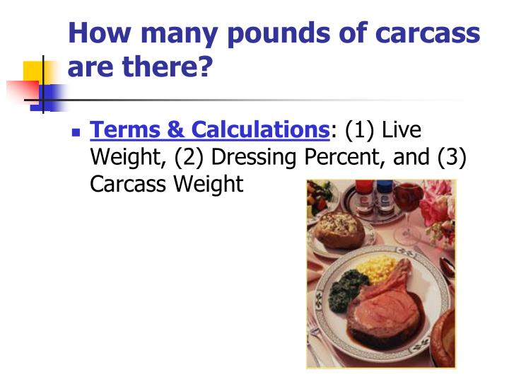 How many pounds of carcass are there?