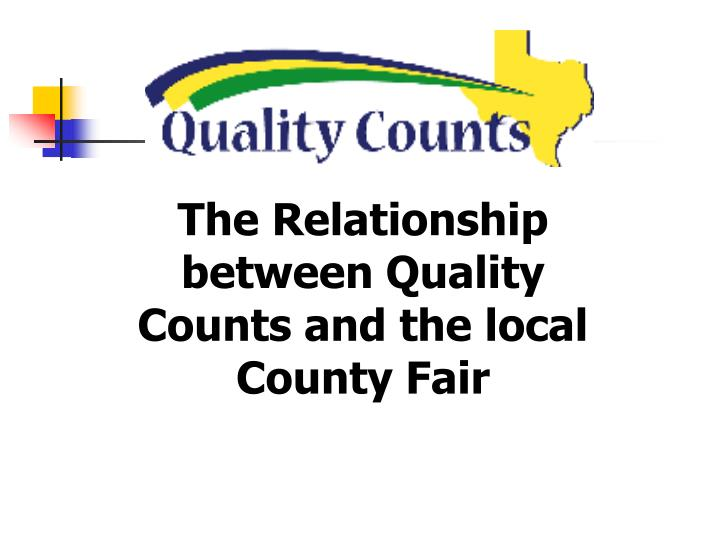 The Relationship between Quality Counts and the local County Fair