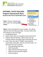 entering youth pqa data program improvement plans based on the form a youth pqa scores