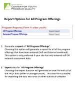 report options for all program offerings