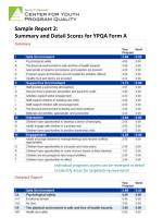sample report 2 summary and detail scores for ypqa form a