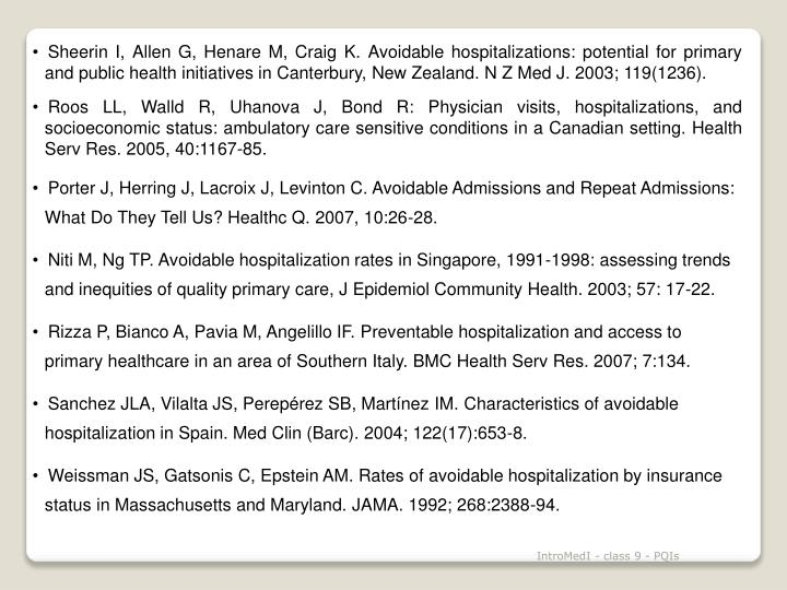 Sheerin I, Allen G, Henare M, Craig K. Avoidable hospitalizations: potential for primary and public health initiatives in Canterbury, New Zealand. N Z Med J. 2003; 119(1236).