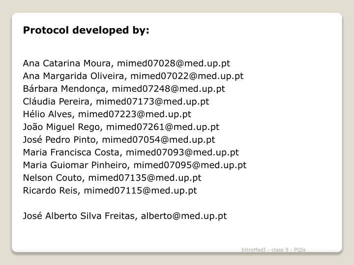 Protocol developed by: