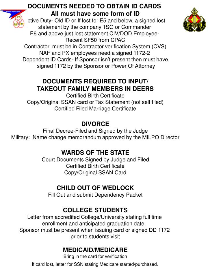 DOCUMENTS NEEDED TO OBTAIN ID CARDS