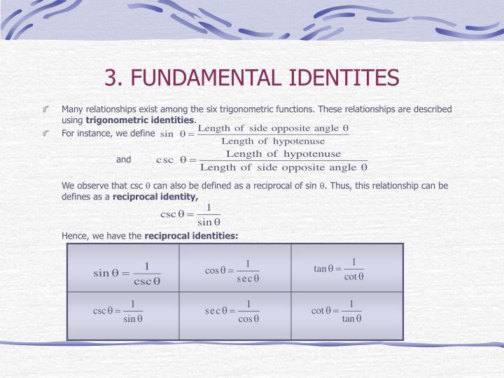 3. FUNDAMENTAL IDENTITES