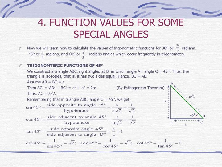 4. FUNCTION VALUES FOR SOME SPECIAL ANGLES