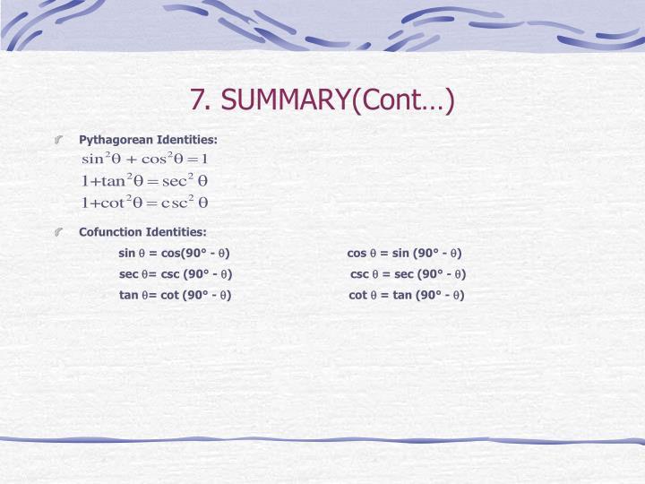 7. SUMMARY(Cont…)