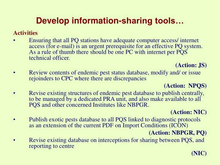 Develop information-sharing tools…
