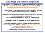 cad design of the various components