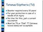 tetanus diptheria td