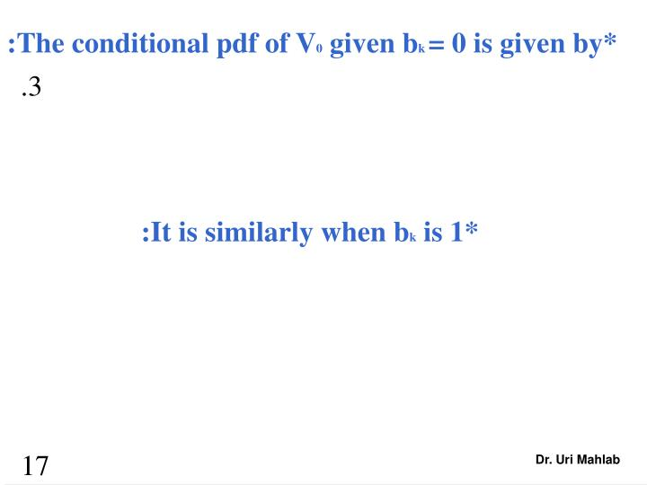 :The conditional pdf of V