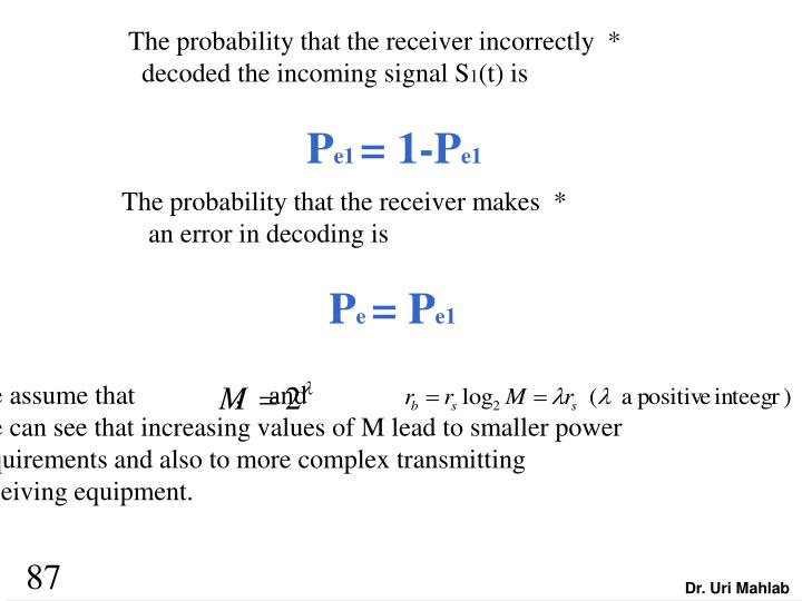 The probability that the receiver incorrectly  *