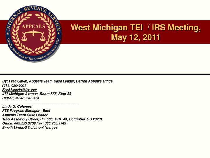 west michigan tei irs meeting may 12 2011 n.