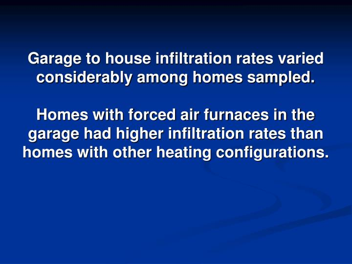 Garage to house infiltration rates varied considerably among homes sampled.