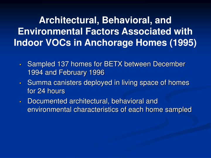 Architectural, Behavioral, and Environmental Factors Associated with Indoor VOCs in Anchorage Homes (1995)