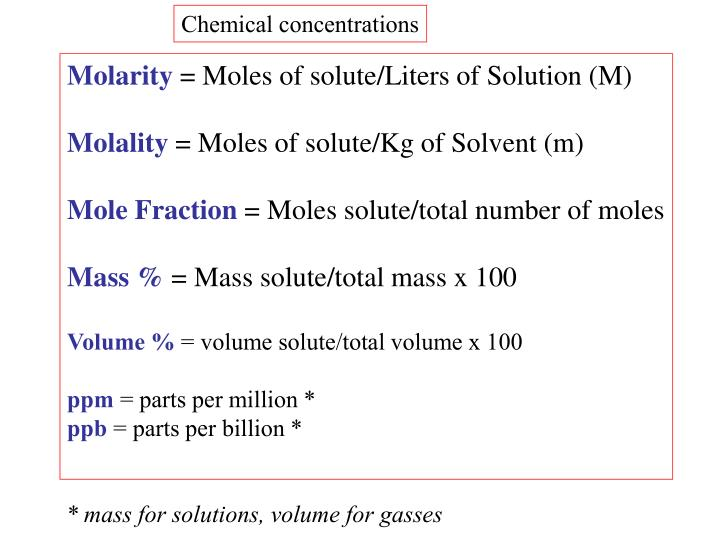 Chemical concentrations