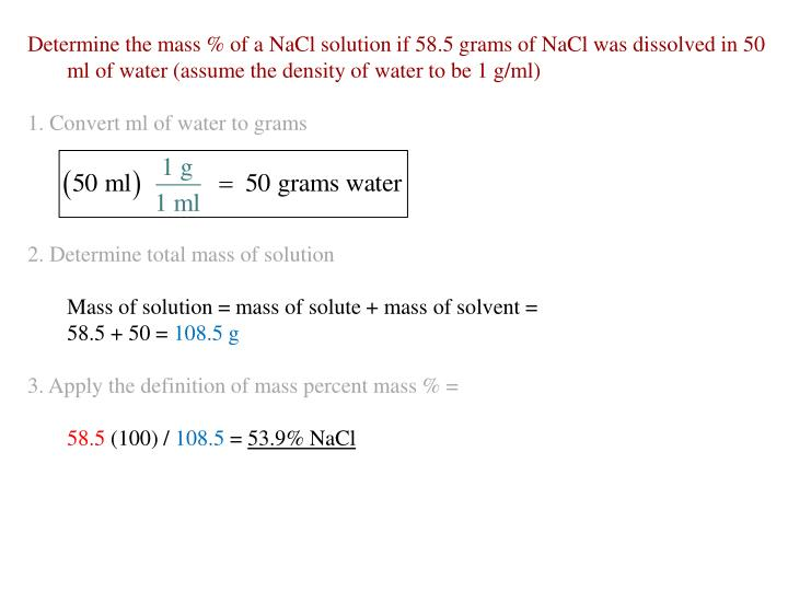 Determine the mass % of a