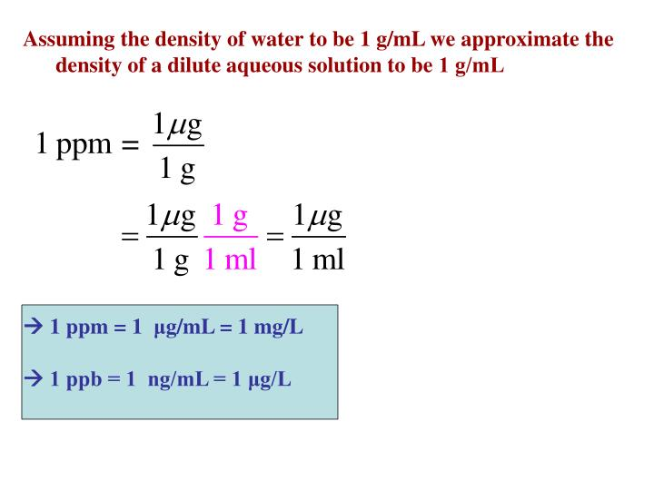 Assuming the density of water to be 1 g/mL we approximate the density of a dilute aqueous solution to be