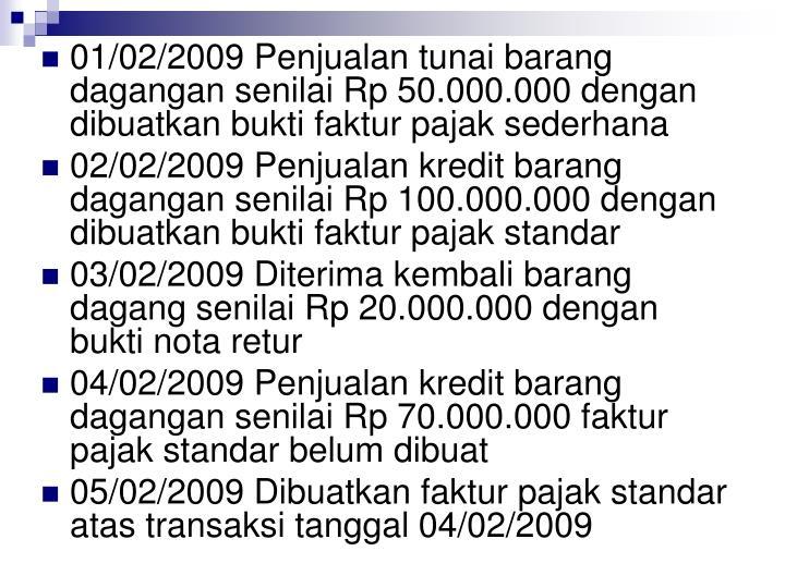 01/02/2009 Penjualan tunai barang dagangan senilai Rp 50.000.000 dengan dibuatkan bukti faktur pajak sederhana
