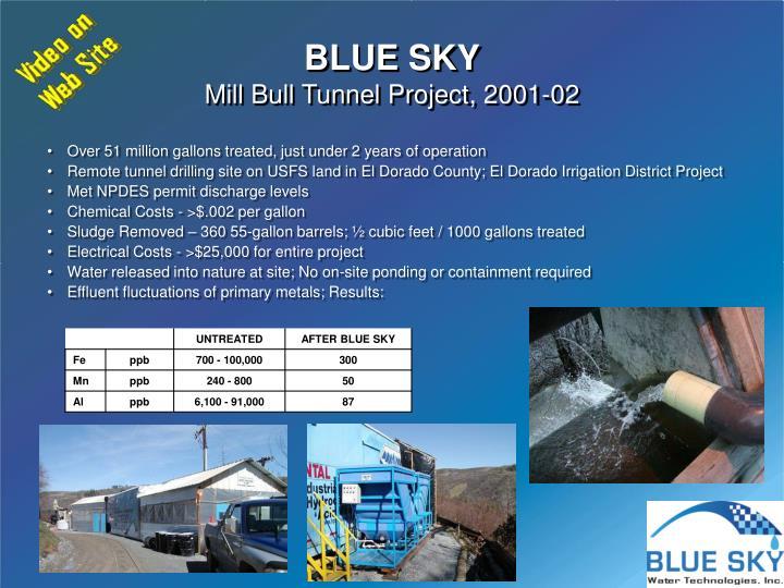 Blue sky mill bull tunnel project 2001 02
